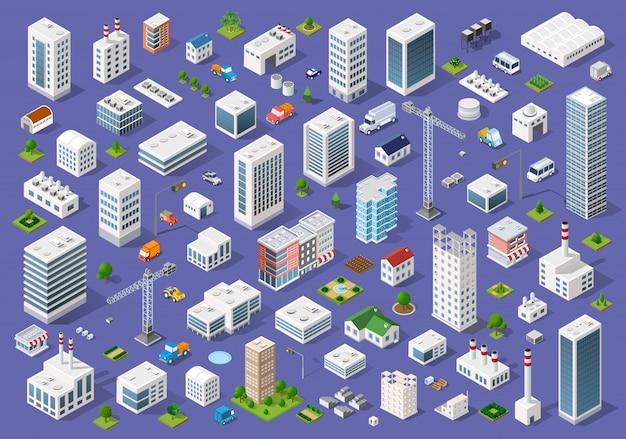 都市の平らな建物のセット