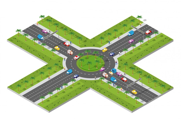 Городская территория с перекрестком