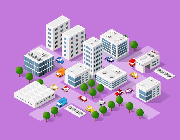 近代的な都市の等尺性セット
