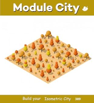Изометрический осенний город