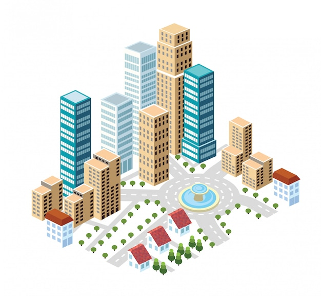 Плоский изометрический стиль города