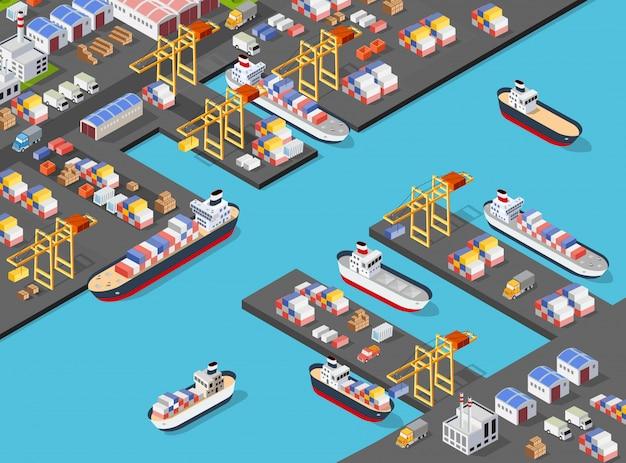 Изометрическое портовое грузовое судно
