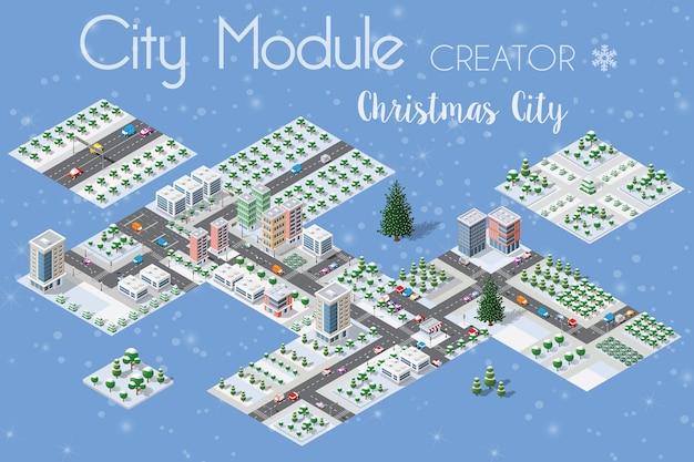 冬のクリスマスの都市のセット