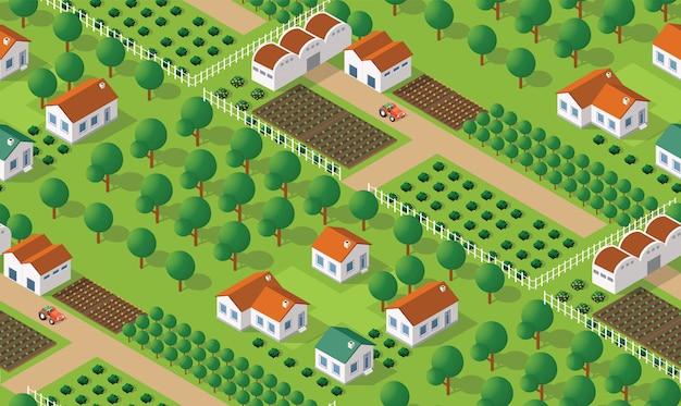 アイソメトリック村のシームレスパターン
