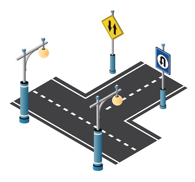 Городская подъездная улица с дорогой