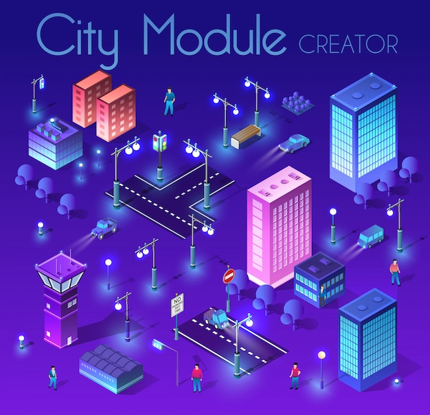 Ночной городской пейзаж ультрафиолетовой архитектуры