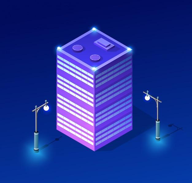 夜の街並みの紫外線建築