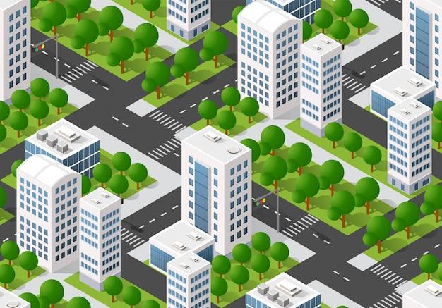 シームレスな都市計画マップ、等尺性の風景