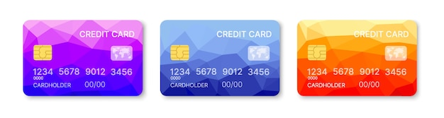 クレジットカードセットマルチカラーテンプレートベクトル