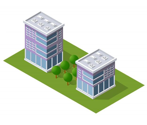 等尺性の建物と都市の景観デザイン要素