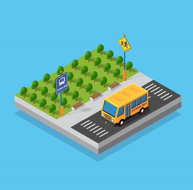 路上駐車場のスクールバス