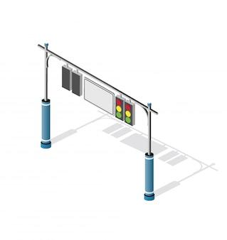 Изометрические городской дорожный светофор семафор