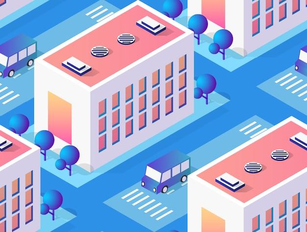 Архитектура иллюстрации город для бесшовного повторения