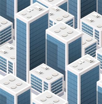 Изометрические фон бесшовные город небоскребов города