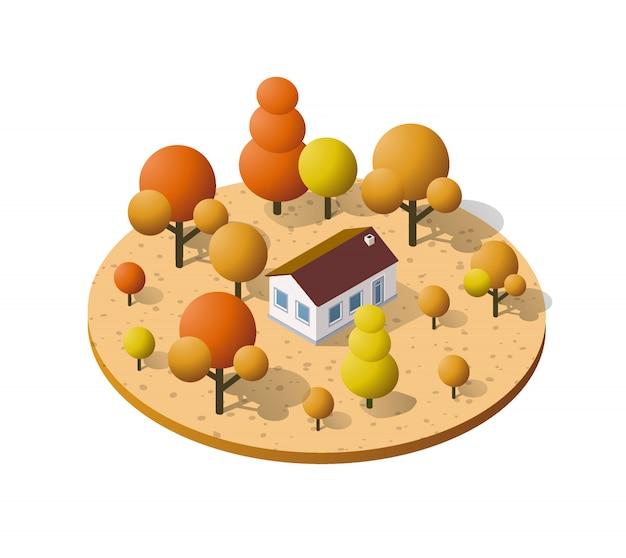 Загородная ферма с деревьями осенью