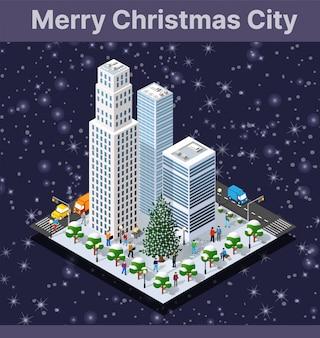 等尺性の冬の街