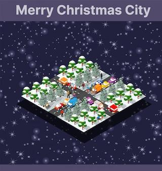 クリスマス冬都市グラフィック概念休日