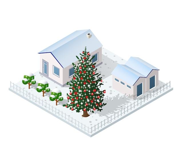 Рождество зима город графический праздник