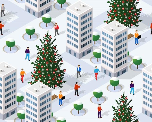 冬のクリスマスツリーのシームレスな背景