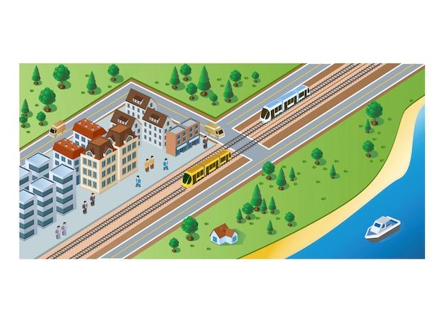 Изометрические прибытие поезда и пассажиров