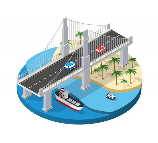 Мост городской инфраструктуры изометрический