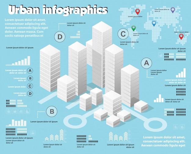 Изометрические карта города промышленности инфографики набор