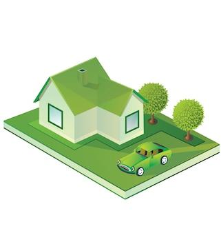 緑の色合いの農家のパノラマビュー