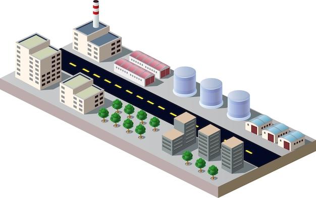 都市と産業の建物の要素を使ったイラスト