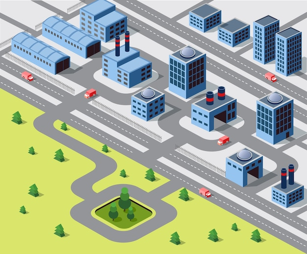 大都市の都市部における工場、倉庫およびオフィスビル
