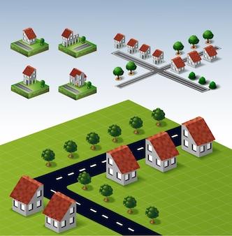 Набор сельских домов и ландшафтов с дорогами и деревьями