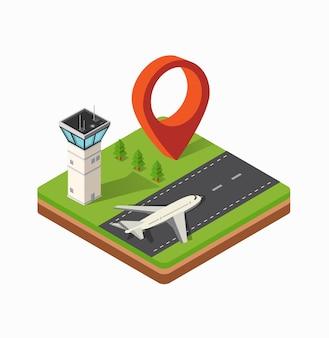 都市空港のアイソメトリックマップ、木々と建設のフライト