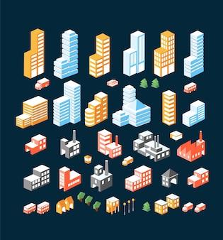 Большой набор изометрических зданий, зданий и транспорта.