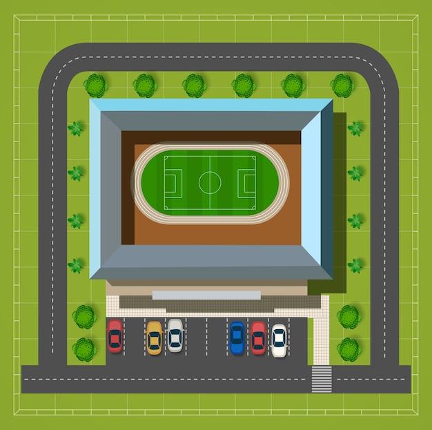 Городской стадион с автомагистралью с видом на автомобили и деревья
