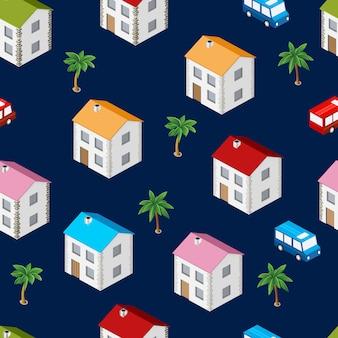 市アイソメのシームレスなパターンの家、輸送、反復的な背景