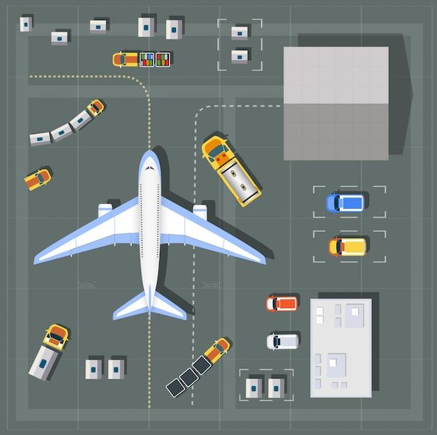 Воздушная точка зрения аэропорта со всеми зданиями, самолетами, транспортными средствами и аэропортом