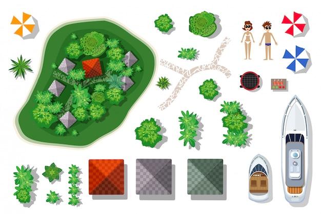 島のパラダイスの空中像。要素のセット