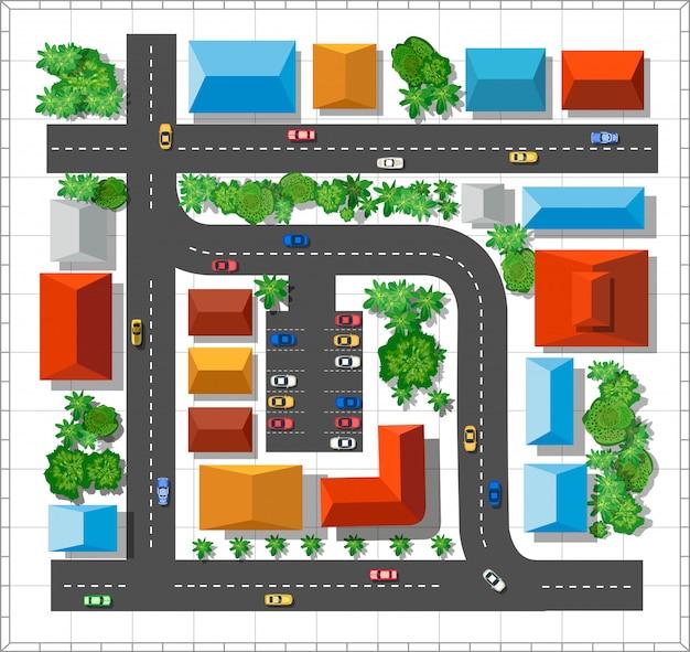Вид на город. городская улица с домами и деревьями