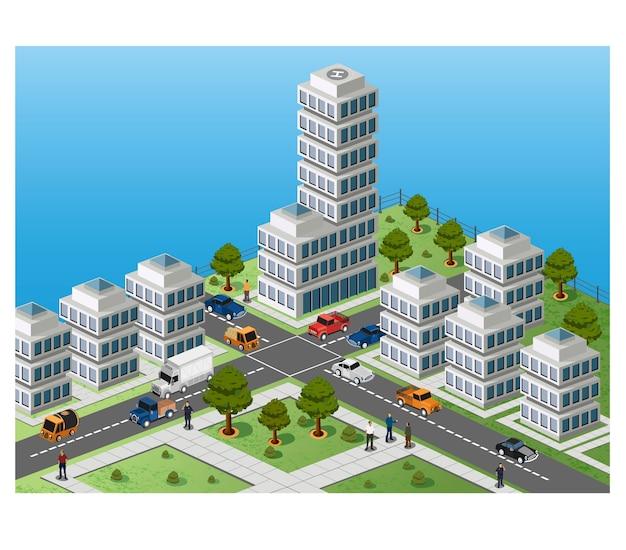 Изометрическое изображение фрагмента города на цветном фоне