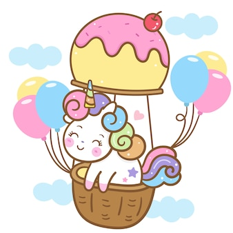 Милый единорог вектор на воздушном шаре мороженого