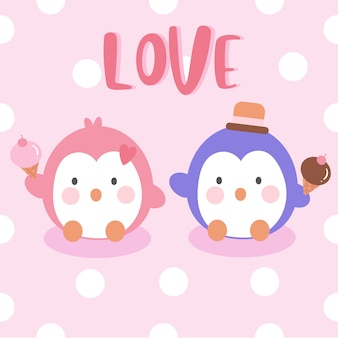 Пара пингвинов держит мороженое