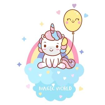 Крутой единорог держит воздушный шар с радугой