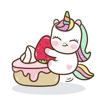 かわいいユニコーンおいしい誕生日ケーキ