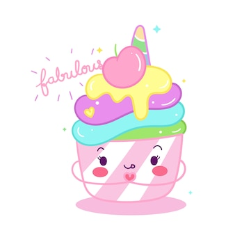かわいいユニコーンカップケーキ落書き漫画