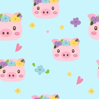 フラワーガーデンでかわいい豚とシームレスなパターンベクトル