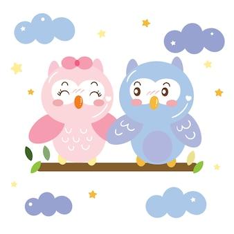 空の漫画にかわいいカップルフクロウ