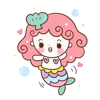 かわいい人魚ベクトル幸せな感情