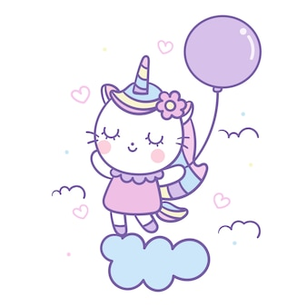 Симпатичные единорог кошка вектор держит воздушный шар