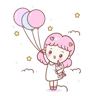 かわいい女の子漫画抱擁ユニコーンベクトル