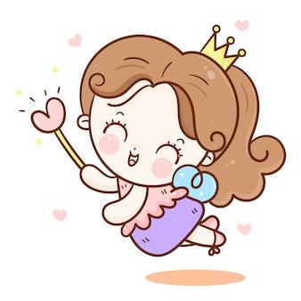 魔法の杖でかわいいおとぎ話の天使