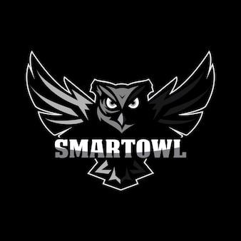 フクロウのマスコットのロゴ